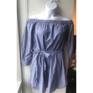Dresses - Pinstripe Off-the-Shoulder Dress